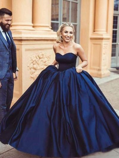 Satin Sleeveless Ball-Gown Prom Dresses Sweetheart Ruffle Floor-Length (018217923)