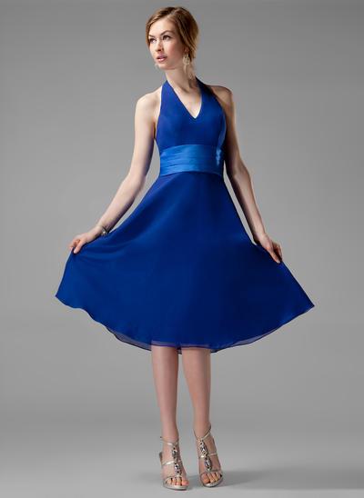 Chiffon Sleeveless A-Line/Princess Bridesmaid Dresses Halter Ruffle Knee-Length (007001804)