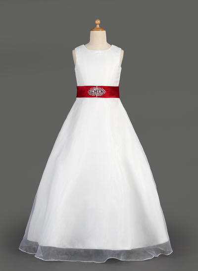Simple Floor-length A-Line/Princess Flower Girl Dresses Scoop Neck Organza/Satin Sleeveless (010014643)