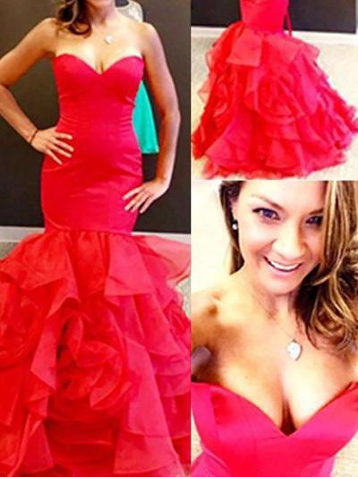 Trumpet/Mermaid Sweetheart Organza Sleeveless Floor-Length Cascading Ruffles Evening Dresses (017210880)