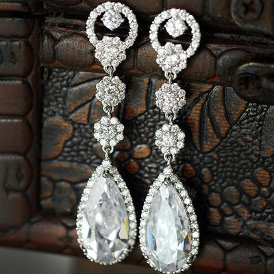 Earrings Zircon Pierced Ladies' Beautiful Wedding & Party Jewelry (011167542)