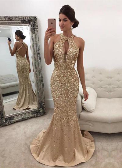 Trumpet/Mermaid Scoop Neck Satin Sleeveless Sweep Train Beading Sequins Evening Dresses (017146441)