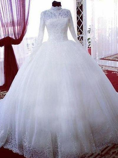 Stunning Chapel Train Ball-Gown Wedding Dresses High Neck Tulle Long Sleeves (002213461)