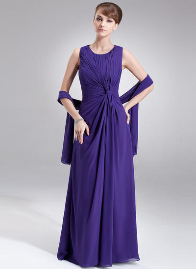 A-Line/Princess Scoop Neck Chiffon Sleeveless Floor-Length Ruffle Mother of the Bride Dresses (008005977)