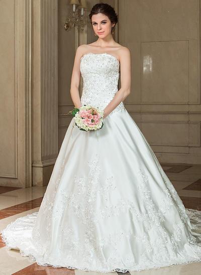 Elegant Chapel Train A-Line/Princess Wedding Dresses Sweetheart Satin Sleeveless (002196825)