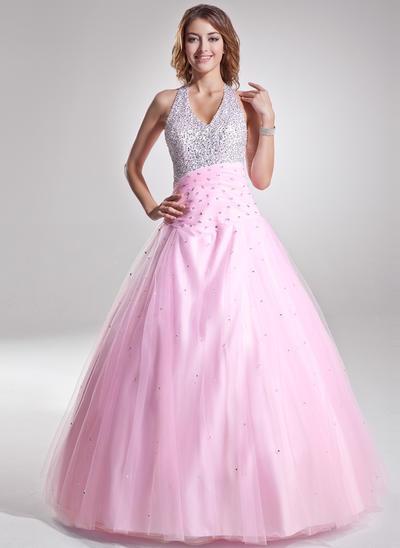 Tulle Sleeveless A-Line/Princess Prom Dresses Halter Ruffle Beading Sequins Floor-Length (018135156)