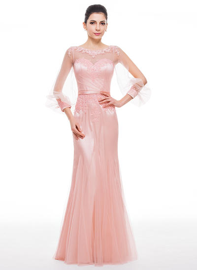 Trumpet/Mermaid Scoop Neck Tulle Long Sleeves Floor-Length Beading Appliques Lace Sequins Evening Dresses (017056514)