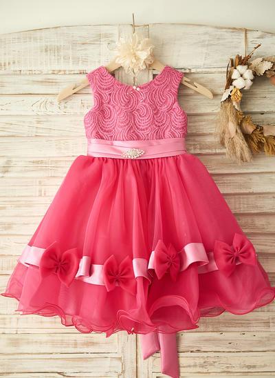 Princess Knee-length A-Line/Princess Flower Girl Dresses Scoop Neck Sleeveless (010211667)