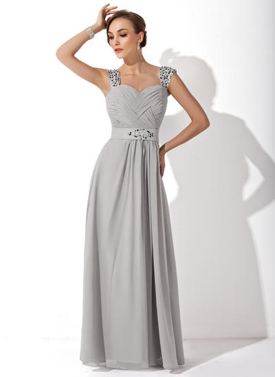 A-Line/Princess Sweetheart Chiffon Sleeveless Floor-Length Ruffle Beading Mother of the Bride Dresses (008006313)