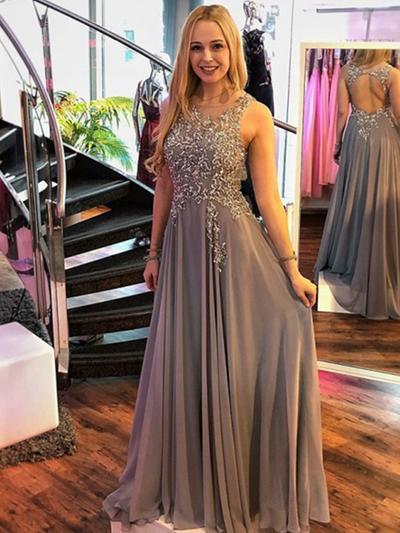 Chiffon Sleeveless A-Line/Princess Prom Dresses Scoop Neck Appliques Floor-Length (018219256)