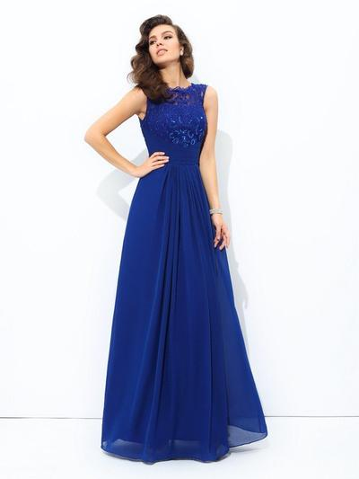 Sleeveless A-Line/Princess Prom Dresses Scoop Neck Lace Floor-Length (018212194)