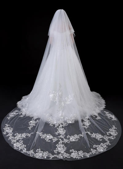Cathedral Bridal Veils Tulle/Lace Two-tier Oval With Lace Applique Edge Wedding Veils (006152266)