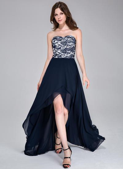 Chiffon Sleeveless A-Line/Princess Prom Dresses Sweetheart Asymmetrical (018037399)