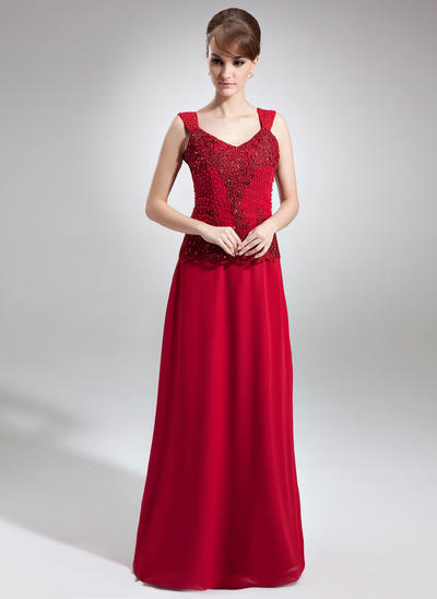 A-Line/Princess V-neck Chiffon Sleeveless Floor-Length Lace Beading Sequins Mother of the Bride Dresses (008006256)
