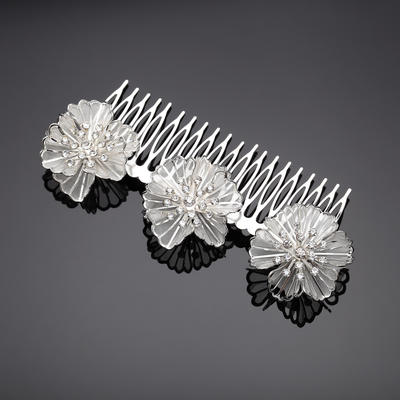 """Combs & Barrettes Wedding/Party/Carnival Rhinestone/Alloy 5.31""""(Approx.13.5cm)/2.56""""(Approx.6.5cm) Flower Shaped Headpieces (042156079)"""