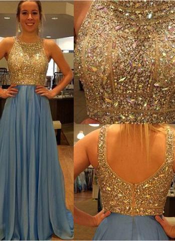 Chiffon Sleeveless A-Line/Princess Prom Dresses Scoop Neck Beading Sequins Sweep Train (018144675)