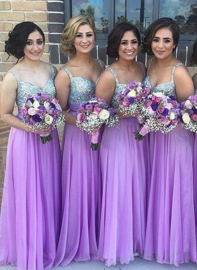 Chiffon Sequined Sleeveless A-Line/Princess Bridesmaid Dresses Sweetheart Floor-Length (007145013)