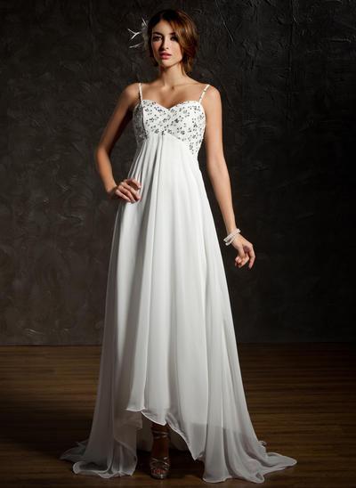 Magnificent Asymmetrical Empire Wedding Dresses Sweetheart Chiffon Sleeveless (002001659)