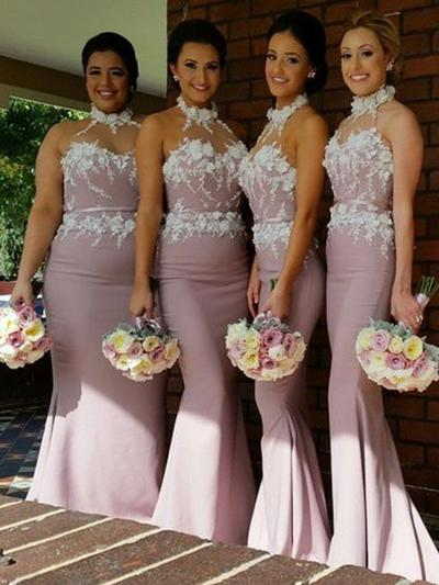 Stretch Crepe Sleeveless Trumpet/Mermaid Bridesmaid Dresses Halter Sweep Train (007144987)