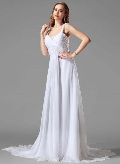 Stunning Chapel Train A-Line/Princess Wedding Dresses Sweetheart Chiffon Sleeveless (002004113)