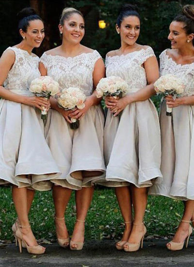 Satin Lace Sleeveless A-Line/Princess Bridesmaid Dresses Off-the-Shoulder Knee-Length (007145022)