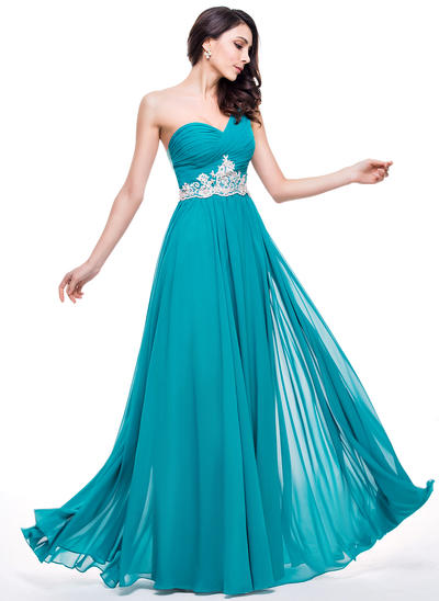 Chiffon Sleeveless A-Line/Princess Prom Dresses One-Shoulder Ruffle Beading Appliques Lace Sequins Floor-Length (018210588)