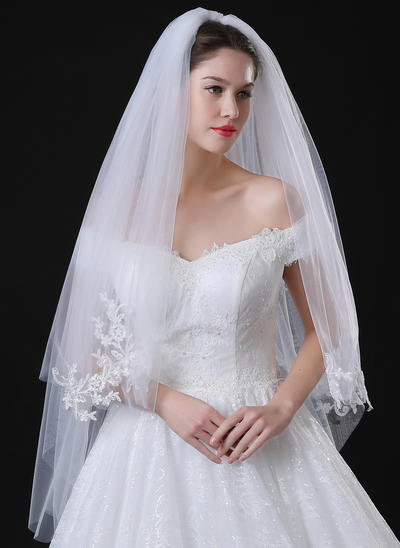 Fingertip Bridal Veils Tulle/Lace Two-tier Classic With Lace Applique Edge Wedding Veils (006152286)