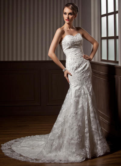 Magnificent Chapel Train Trumpet/Mermaid Wedding Dresses Sweetheart Lace Sleeveless (002196844)