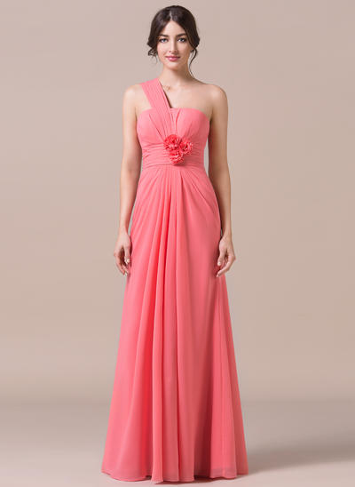 Chiffon Sleeveless Trumpet/Mermaid Bridesmaid Dresses One-Shoulder Ruffle Flower(s) Floor-Length (007057701)