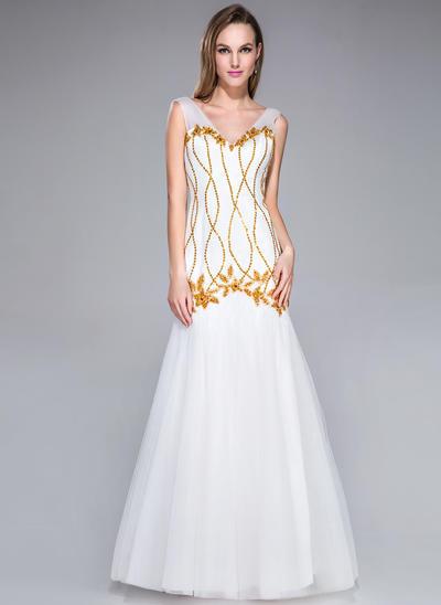 Tulle Sleeveless Trumpet/Mermaid Prom Dresses V-neck Beading Sequins Floor-Length (018042751)