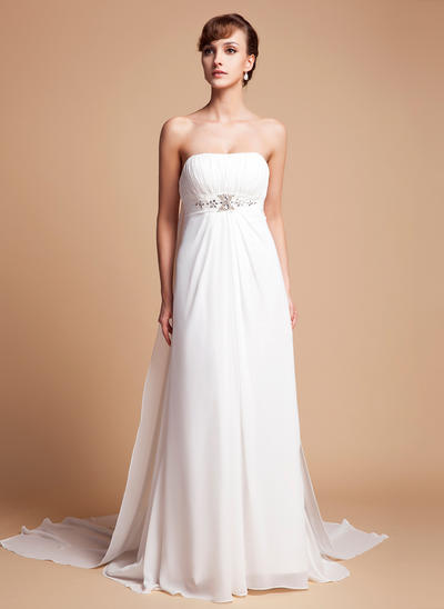 Stunning Watteau Train Empire Wedding Dresses Strapless Chiffon Sleeveless (002000563)