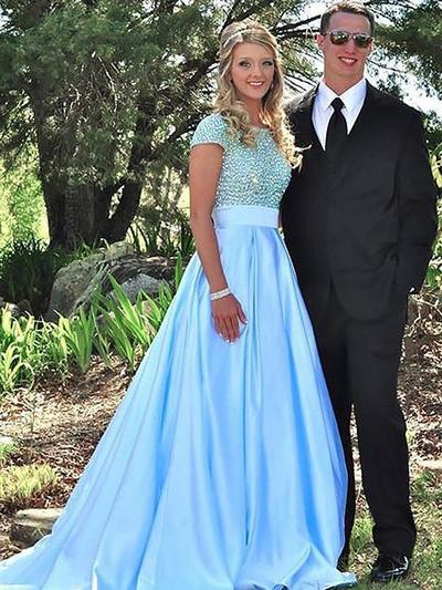 Satin Short Sleeves Ball-Gown Prom Dresses Scoop Neck Beading Sweep Train (018148465)