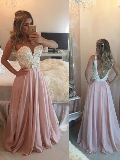 Chiffon Sleeveless A-Line/Princess Prom Dresses Sweetheart Beading Bow(s) Floor-Length (018210329)