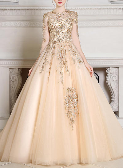 Ball-Gown Scoop Neck Tulle Long Sleeves Court Train Beading Evening Dresses (017196818)