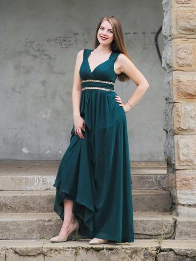 Chiffon Sleeveless Empire Prom Dresses V-neck Beading Floor-Length (018218109)