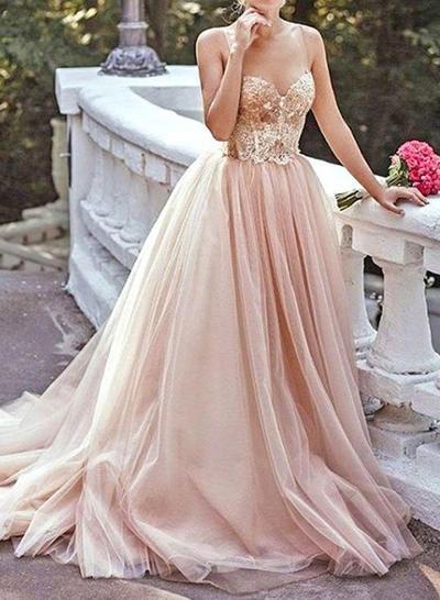 Tulle Sleeveless A-Line/Princess Prom Dresses Sweetheart Beading Sweep Train (018210378)