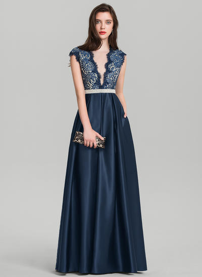 A-Line/Princess V-neck Floor-Length Satin Prom Dresses With Beading Sequins (018138537)