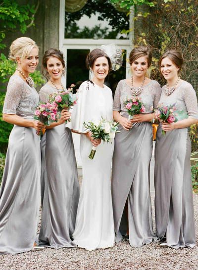 Jersey 1/2 Sleeves A-Line/Princess Bridesmaid Dresses Scoop Neck Lace Sweep Train (007212233)