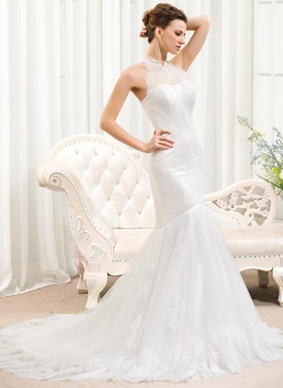 Princess Court Train Trumpet/Mermaid Wedding Dresses Halter Tulle Lace Sleeveless (002210567)