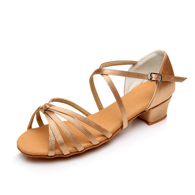 Kids' Latin Sandals Flats Satin With Bowknot Dance Shoes (053175908)