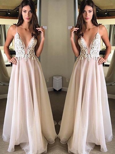 Sleeveless A-Line/Princess Prom Dresses V-neck Appliques Lace Floor-Length (018210934)