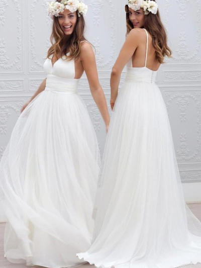 Delicate Sweep Train A-Line/Princess Wedding Dresses Deep V Neck Tulle Sleeveless (002144936)