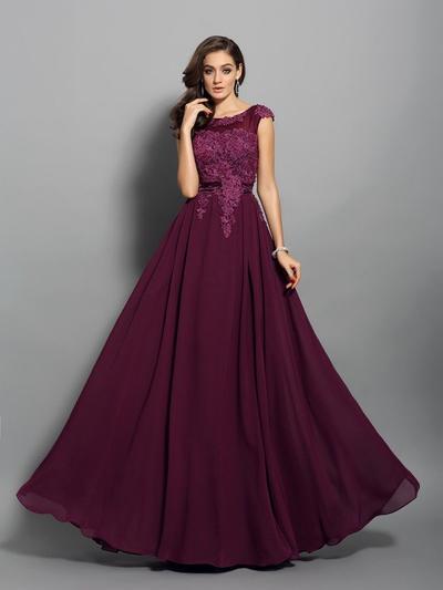Sleeveless A-Line/Princess Prom Dresses Scoop Neck Appliques Lace Floor-Length (018212195)