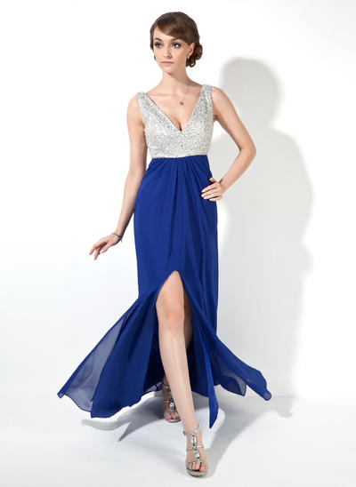 Chiffon Sleeveless A-Line/Princess Prom Dresses V-neck Beading Sequins Split Front Floor-Length (018005095)