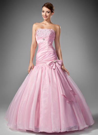 Taffeta Organza Sleeveless Trumpet/Mermaid Prom Dresses Strapless Ruffle Beading Sequins Bow(s) Floor-Length (018004953)