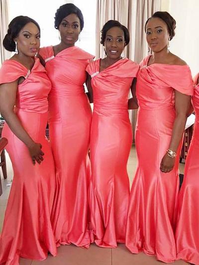 Satin Sleeveless Trumpet/Mermaid Bridesmaid Dresses Off-the-Shoulder Ruffle Beading Floor-Length (007211693)