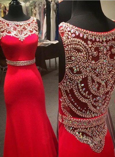 Jersey Sleeveless Trumpet/Mermaid Prom Dresses Scoop Neck Beading Floor-Length (018144676)