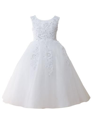 Elegant Floor-length A-Line/Princess Flower Girl Dresses Scoop Neck Tulle Sleeveless (010146827)