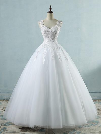 Luxurious Floor-Length Ball-Gown Wedding Dresses V-neck Tulle Sleeveless (002218627)