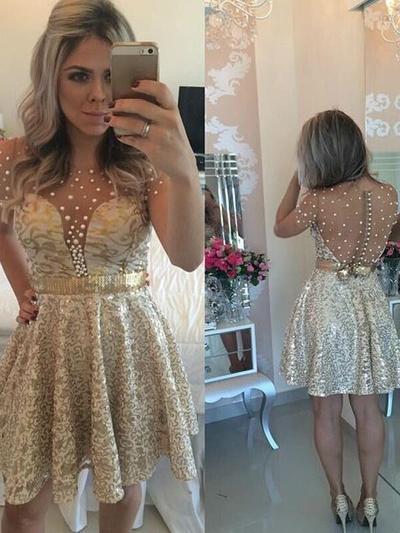 A-Line/Princess Scoop Neck Lace Short Sleeves Short/Mini Beading Cocktail Dresses (016145301)